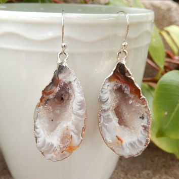 Cave Geode Earrings Rhodium Half Geode Dangle Stone Earrings Brown Boho Jewelry Agate Druzy Rock Crystal Jewelry - Free Shipping Jewelry
