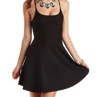 Textured Scuba Knit Skater Dress by Charlotte Russe - Black