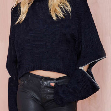 Black Long Sleeve Zipper Cropped Sweater
