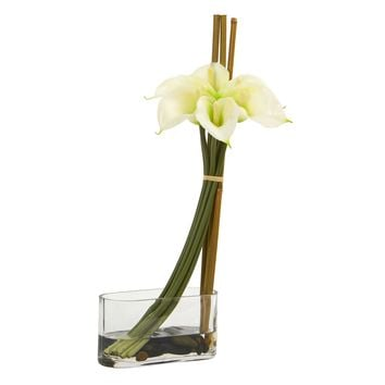Artificial Flowers -18 Inch Calla Lily with Bamboo Cream Arrangement