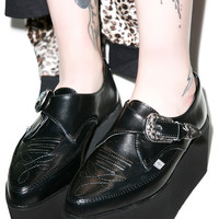 T.U.K. Leather Stacked Pointed Buckle Creepers Black