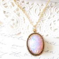 Pink Fire Opal Necklace - Gold Rolled Setting - Mothers Day Gift - Birthstone Necklace - October Birthday - 16k Gold Plated