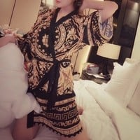 """Versace""Women Temptation Solid Color Perspective Long Sleeve Cardigan Erotic Sleepwear Nightgown"