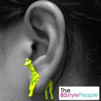 3D Neon Giraffe Ear Stud (Neon Yellow) - the85stylePeople