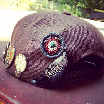 Heady Dream Catcher Hat Pin with Green TIger's Eye // Festival Hat Wear