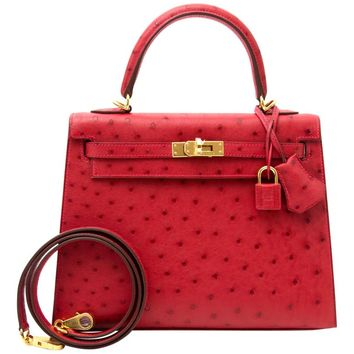 Hermès Sellier 25 Autruche Rouge Vif GHW Kelly Bag