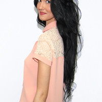 MINKPINK Spread Your Wings Lace Collared Shirt in Blush