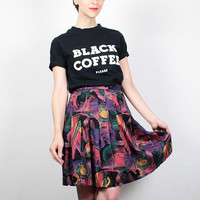 Vintage 80s Skirt Rainbow Black Abstract Print Mini Skirt 1980s Skirt High Waisted Skater Skirt New Wave Mod Print Hipster Skirt S Small