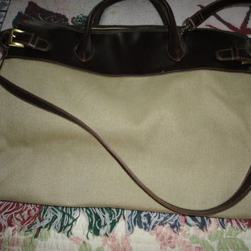 Vintage Liz Claiborne Tote Carry On Designer Tan Bag