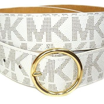 PEAPON Michael Kors Women's Logo Monogram Wide Goldtone Buckle Belt Ivory