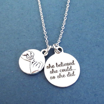 Pinky promise, She believed, she could... so she did, Silver, Necklace, Inspiration, Accomplishment, Achievement, Gift, Jewelry