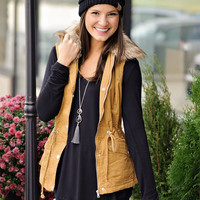 * Liandra Fur Lined Twill Vest with Removable Fur Collar : Mustard
