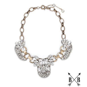 Crystal Cluster Bib Necklace - J Crew Inspired - J Crew Statement Necklace