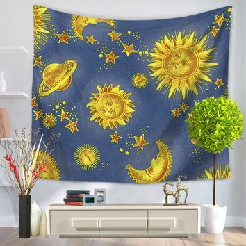 Indian Print Tapestry Colourful Sun And Moon Rectangle Mandala Tapestry Wall Hanging tapestry Decorative Blankets Tapiz Pared