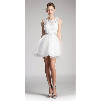 Off White Lace Beaded Short Homecoming Dress Sleeveless