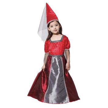 Girls Red Medieval Princess Renaissance Juliet Child Cosplay