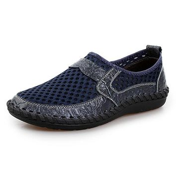 Summer Genuine Leather Moccasins Mesh Breathable Men Casual Shoes Loafers Slip On Handmade Driving Male Walking