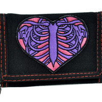 Rib Cage Heart Tri-fold Wallet w/ Chain Occult Clothing