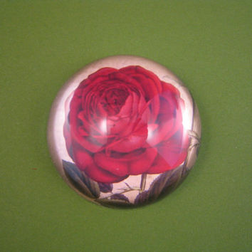 Bourbon Red Rose and Script Round Small Glass Dome Paperweight Floral Home Decor June Birthday