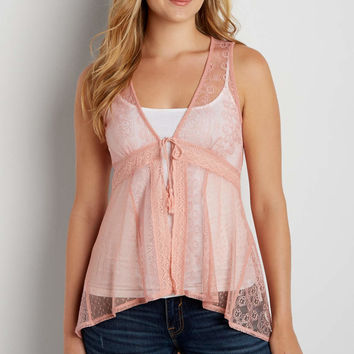 embroidered mesh vest with tie front   maurices