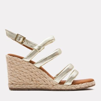 Rebecca Metallic Leather Espadrille (Platino Metallic)
