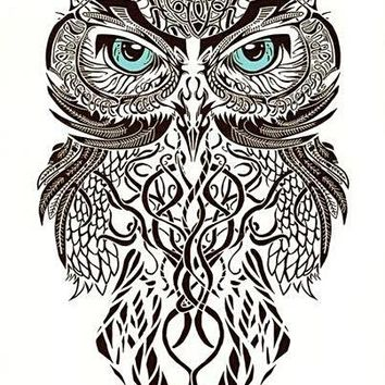 Owl Temporary Tattoo Large [Black]