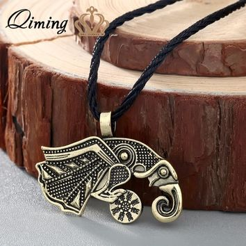 QIMING Vintage Puck Men Necklace Friends Gift Valknut viking retro Raven of Odin 's Symbol Viking Warriors Pendant Necklace