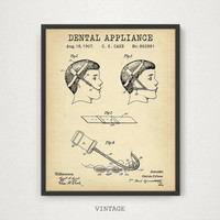 Dental Poster Printable, Dental Appliance Patent, Dentist Gift, Teeth Braces Art Download, Dental Wall Art Dental Tools Dental Office Prints