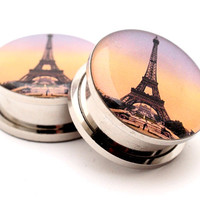 Eiffel Tower Style 1 Picture Plugs gauges - 16g, 14g, 12g, 10g, 8g, 6g, 4g, 2g, 0g, 00g, 7/16, 1/2, 9/16, 5/8, 3/4, 7/8, 1 inch