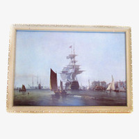Vintage Framed Nautical Ship Print Wall Art Hanging, George Chambers