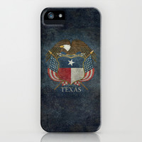Texas flag and eagle crest - original vintage design by BruceStanfieldArtist iPhone & iPod Case by Bruce Stanfield
