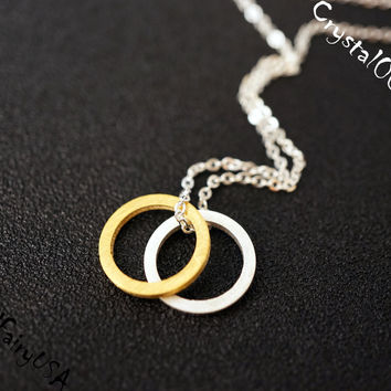 Couple Rings Necklace  Tiny Gold Ring Silver Ring Necklace