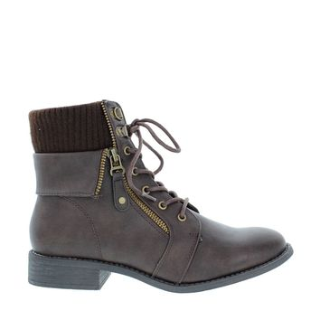 Sweater Top Side Zipper Boot (BROWN)