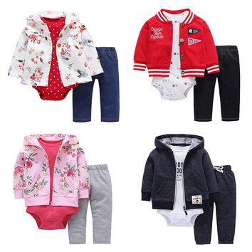 Spring Autumn Brand Baby Clothing Kids Cartoon Printing Unisex Clothes Set  Newborn Bebes Costumes Toddler Boy Girl 3pcs Outfits