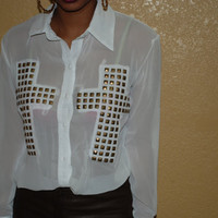 Pyramid Studded Cross Blouse
