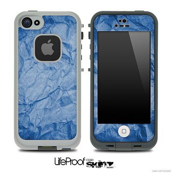Crumpled Blue Paper Skin for the iPhone 5 or 4/4s LifeProof Case