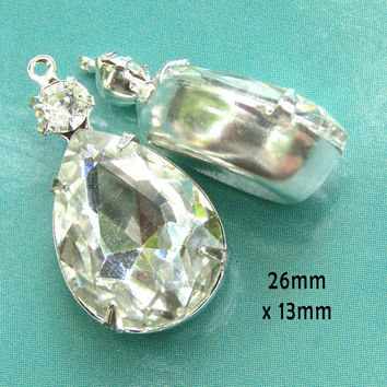 Crystal Teardrop Glass Beads, Silver Settings, Rhinestone Wedding Jewels, Pear, 26mm x 13mm, Glass Gems, Choose your color, One Pair