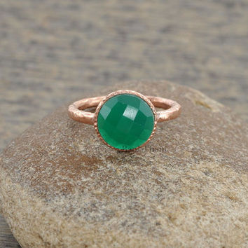 Green Onyx Beautiful Round 10mm Textured Micron Rose Gold Plated 925 Sterling Silver Ring - #1437