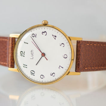 Ultra slim men's watch Ray gold plated watch classic wristwatch mint condition premium leather strap new
