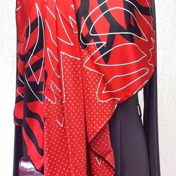 VERSACE 1969 red/blue polka dot/floral signature scarf 90x90 RRP £110