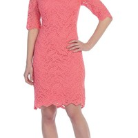 Bateau Neckline Lace Sheath Coral Cocktail Dress