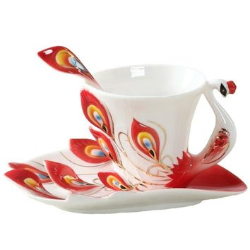3D Color Peacock Coffee Cup Bone 180ML Creative Ceramic Mug China Enamel Porcelain Saucer Spoon Coffee Tea Sets Gift