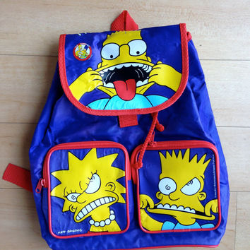 90's The Simpsons Vintage Kids Backpack / Bart & Lisa / Schoolbag / Bookbag