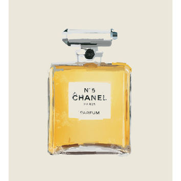 Chanel No. 5 parfume bottle  - painting - chanel art - chanel poster - parfume - watercolor - chanel print - chanel painting