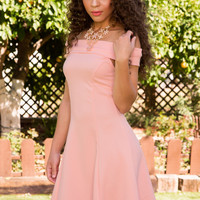 Merida Off The Shoulder Dress - Blush
