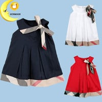 2016 new girl dress cotton kids clothes bow children clothing summer style baby girl dress plaid outfit casual vestido infantil