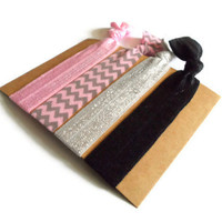 Elastic Hair Ties Pink Gray Chevron Yoga Hair Bands