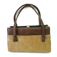 Vintage 1950s Beige Brown Bag retro handbag by Kadin U.S.A.