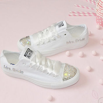 CUSTOM Crystal Wedding Converse Mono White All Stars Chuck Taylor Pumps  Flats Bling Sparkly Rhinestone Bride f75385848