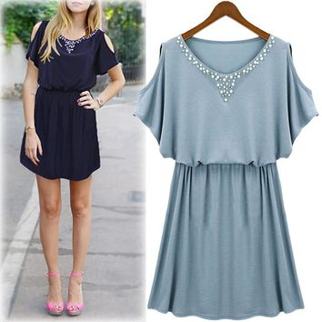 Women's Fashion Summer Strapless Short Sleeve Slim One Piece [37755191322]